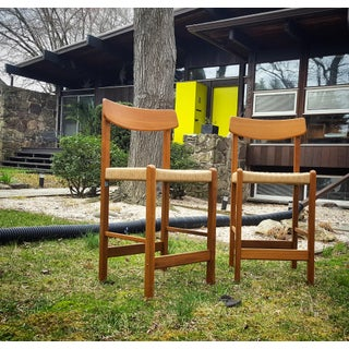 Vintage Teak Bar Stools With Paper Cord Seat - A Pair Preview