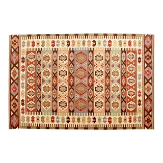 Mid Century Modern Dhurrie Rectangular Area Rug Carpet Red Green Brown For Sale