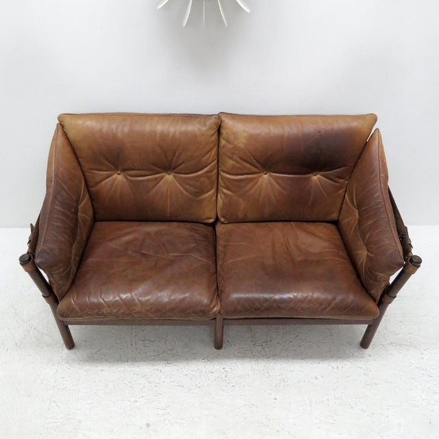 Mid-Century Modern 1960's Vintage 'Ilona' by Arne Norell Leather Settee For Sale - Image 3 of 13