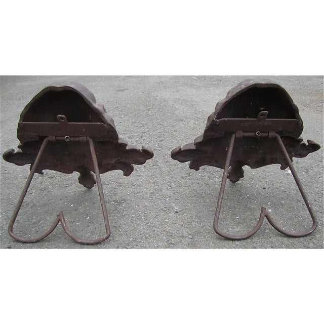 French Cast Iron Fire Dogs - A Pair For Sale - Image 3 of 10