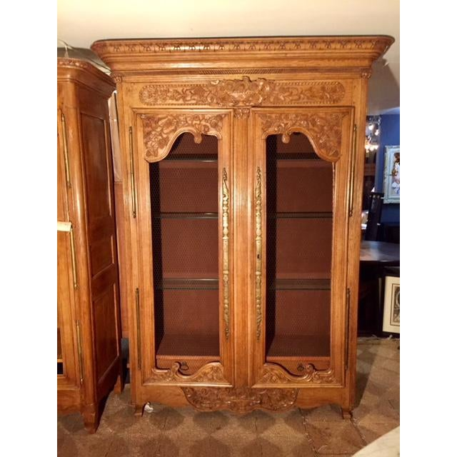 19th Century French Carved 2 Door Chicken Wire Vitrine For Sale - Image 12 of 12
