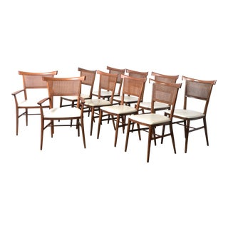 Set of 10 Paul McCobb Cane Dining Chairs 1950's For Sale