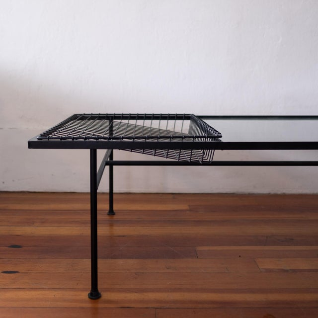 Mid Century Modern Iron Coffee Table With Magazine Holder For Sale - Image 4 of 13