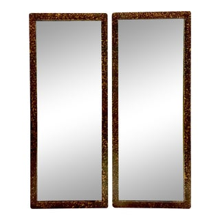1950s Phyllis Morris Style Gilt Wood Faux Tortoise Rectangular Mirrors - a Pair For Sale