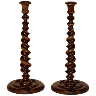 19th Century Ribbon Twist Candlesticks - a Pair For Sale