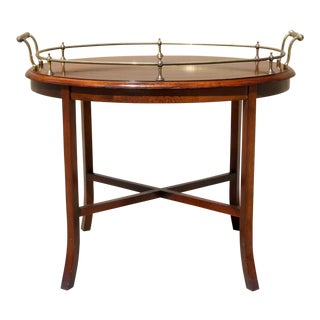 Vintage Tea Table With Brass Handles and Trim For Sale