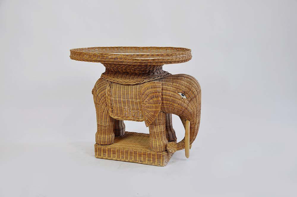 Vintage Rattan Wicker Elephant Side Table   Image 3 Of 7