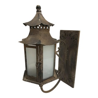 Vintage Chinoiserie Pagoda-Shaped Lantern Wall Sconce Candle Holder For Sale
