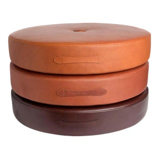 Leather Drum Stacking Floor Cushions by Moses Nadel - Set of 3 For Sale
