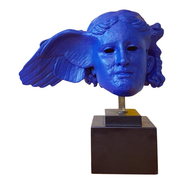 Vintage Neoclassical Greek Plaster Sculpture of Hypnos in Klein Blue For Sale