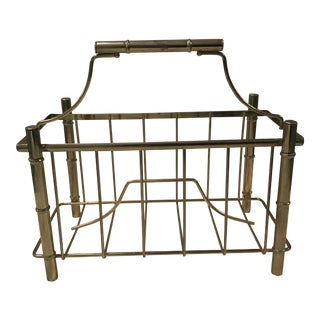 Brass Faux Bamboo Magazine Rack For Sale