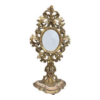 18th Century Carved and Gilded Baroque Reliquary Mirror For Sale