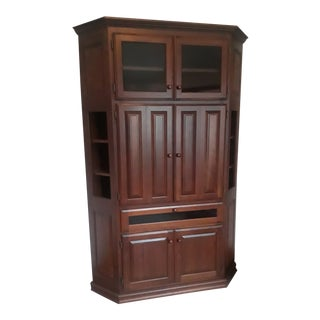 Solid Cherry Custom Built Corner Cabinet For Sale