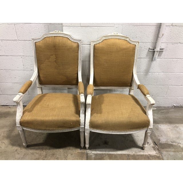 Late 20th Century Vintage Upholstered Louis XVI Neoclassical Squareback Chairs - A Pair For Sale - Image 5 of 5