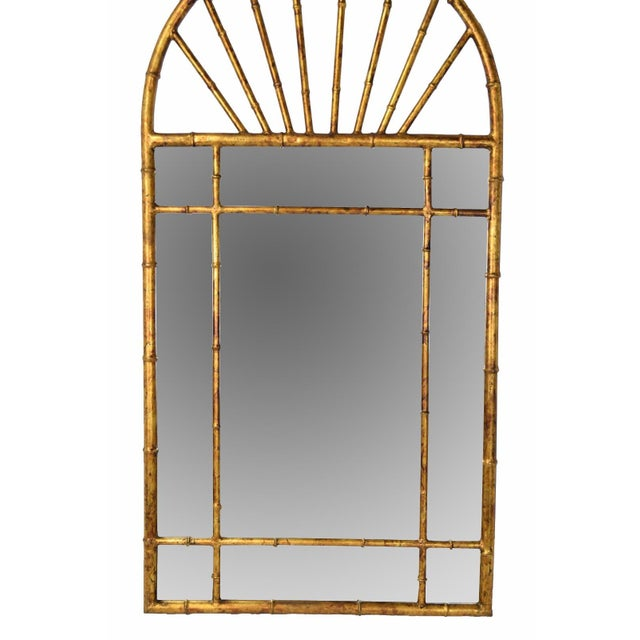 Spanish Vintage Labarge Oval Top Spanish Gilt Metal Faux Bamboo Wall Mirror For Sale - Image 3 of 7