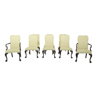 Set of 8 Drexel Ball & Claw Mahogany Upholstered Dining Room Chairs For Sale
