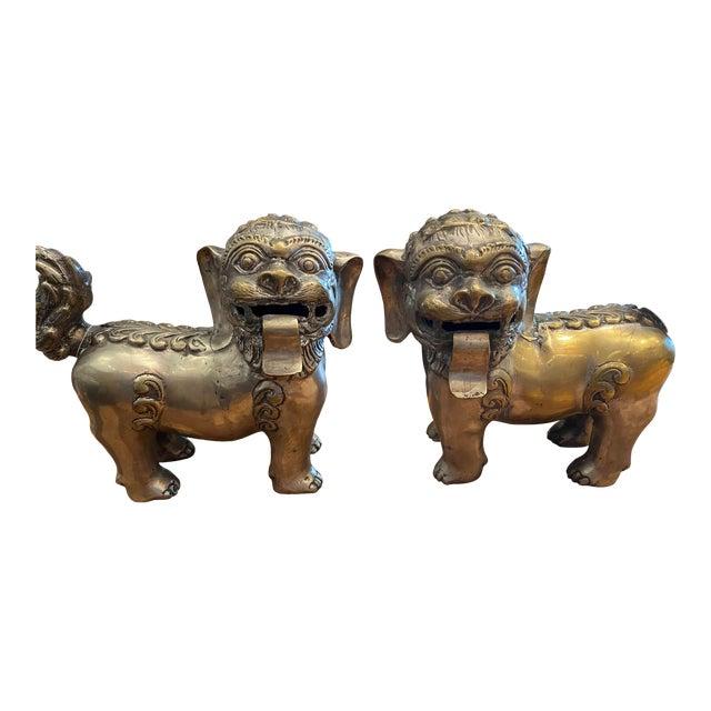 Vintage Brass Foo Lion Dogs For Sale