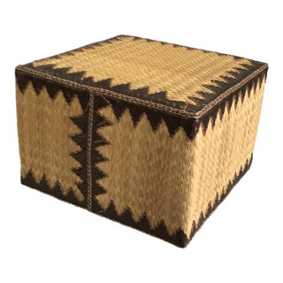 Handcrafted Brown Reed Ottoman For Sale