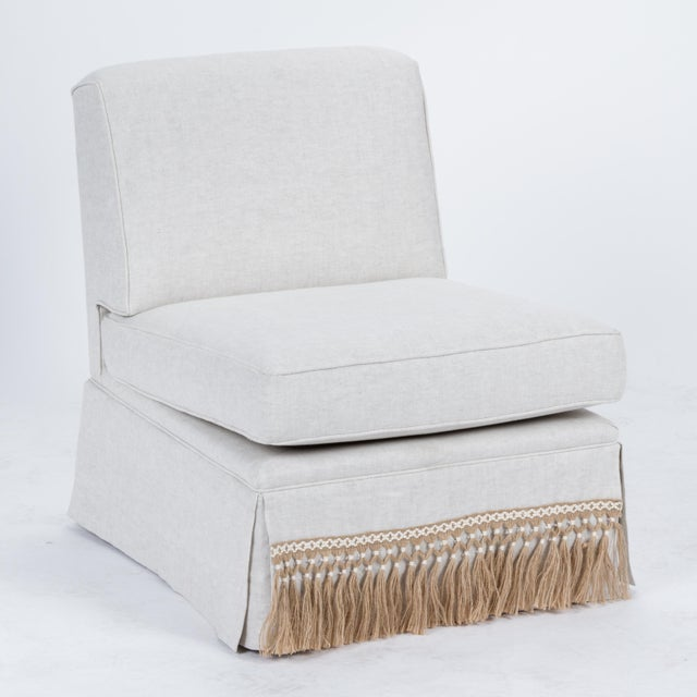English Traditional Casa Cosima Skirted Slipper Chair in Oatmeal Linen, a Pair For Sale - Image 3 of 9