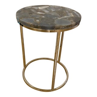 Modern Side Table With Circular Semi Precious Grey Agate Stone Top For Sale