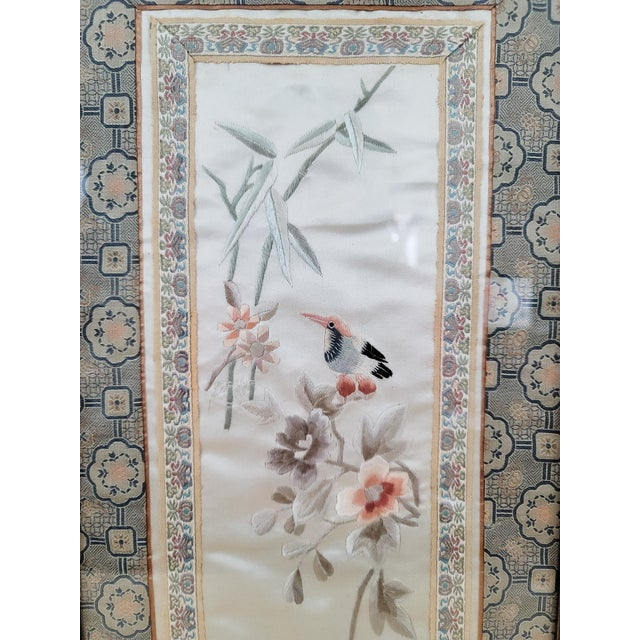 Chinoiserie Mid Century Framed Chinoiserie Embroidery For Sale - Image 3 of 5
