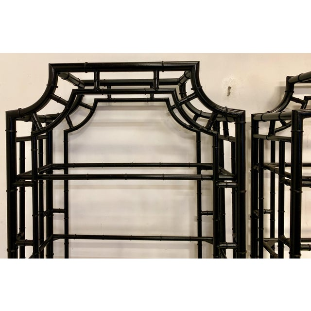 Asian Pair of Lacquered Aluminum Faux Bamboo Pagoda Chippendale Style Etageres For Sale - Image 3 of 4