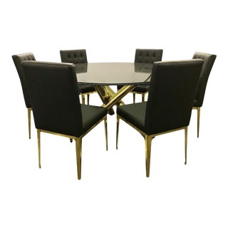 Round Glass and Brass Dining Table and Black Leather Chairs Set For Sale