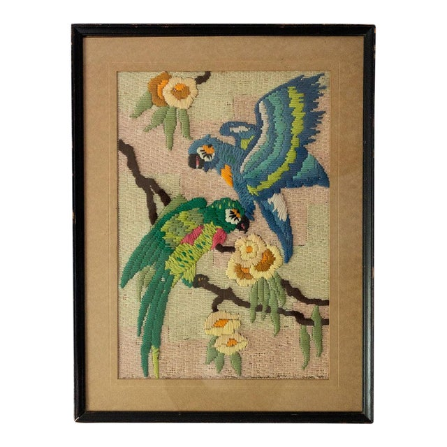 1930s Vintage Tropical Parrot Crewel Work Framed Textile Art For Sale