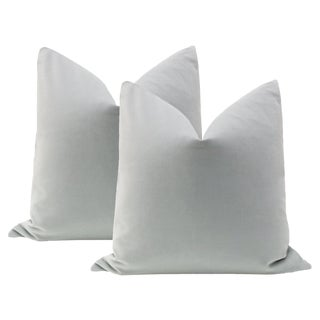 "22"" Mist Velvet Pillows - a Pair"