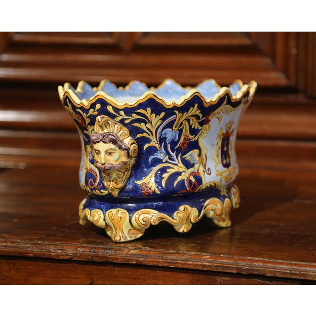 Ceramic Mid-19th Century Italian Painted Ceramic Oval Planter With Crest and Cherubs For Sale - Image 7 of 12