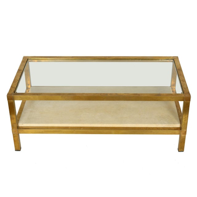 Mid-Century Modern Mid-Century Modern Brass, Parchment and Glass Coffee Table For Sale - Image 3 of 3