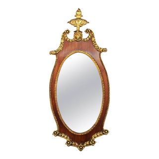 Federal Style Oval Wall Mirror with Lion Motif For Sale
