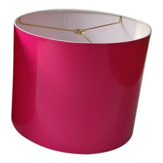 Small High Gloss Hot Pink Drum Lampshade With Silver Lining For Sale