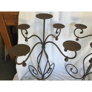 """Pair of Wrought Iron Candle Holder 32"""" Tall 5 Light Preview"""