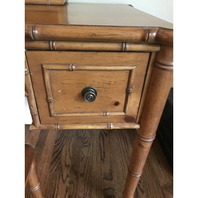 English Vintage Ethan Allen British Colonial Chinese Chippendale Faux Bamboo Desk Vanity For Sale - Image 3 of 13