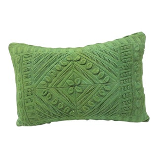 Vintage Kelly Green Crochet Lumbar Decorative Pillow For Sale