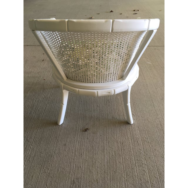 Tan Vintage Faux Bamboo Cane Barrel Back Chair For Sale - Image 8 of 9
