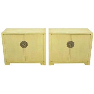 Pair Baker Far East Collection Ivory Glazed Mahogany Cabinets For Sale