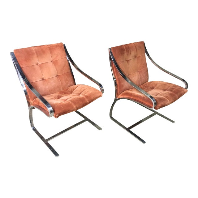 Bert England Brueton Steel Frame Cantilevered Lounge Chairs- a Pair For Sale