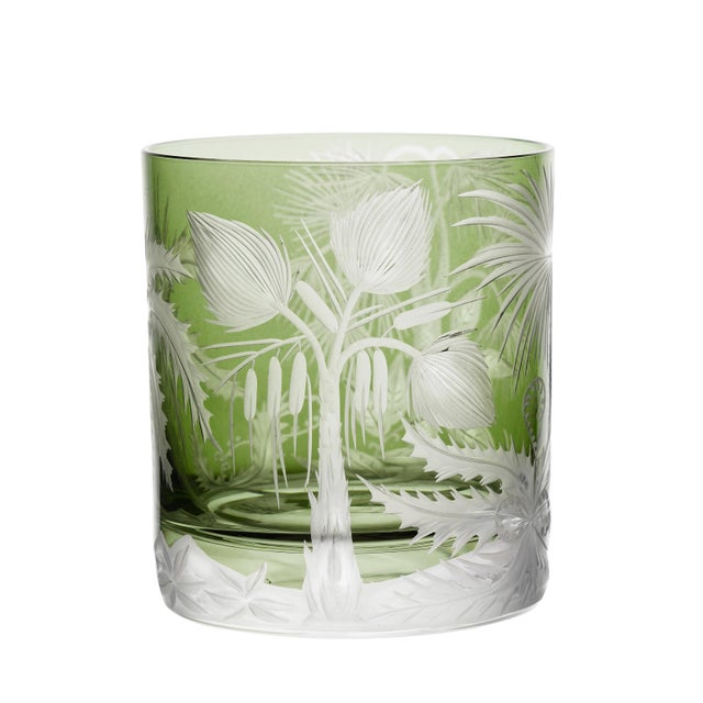 Artel ARTEL Primeval Palms Double Old Fashioned Glass in Khaki Green - Set of 6 For Sale - Image 4 of 7