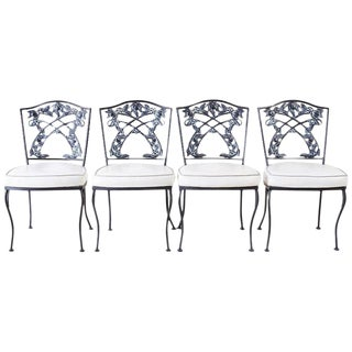 Set of Four Neoclassical Style Iron Garden Patio Chairs For Sale