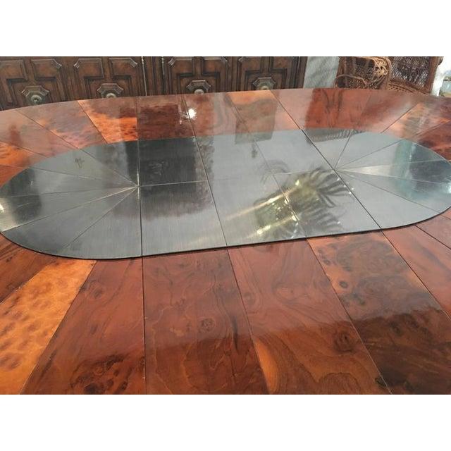 Hollywood Regency Paul Evans Burlwood Dining Table Brushed Metal For Sale - Image 3 of 12