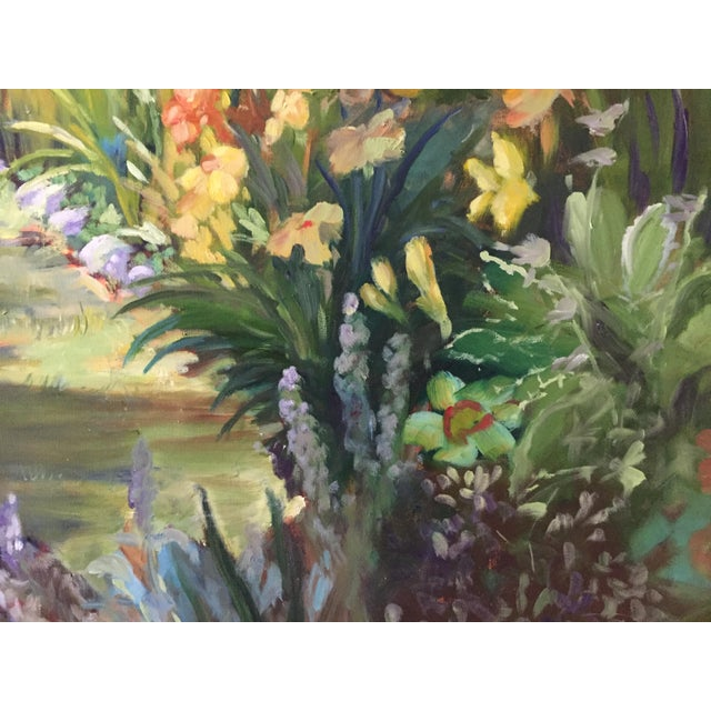 A vibrant original painting painted plein air in my garden, like Monet! This large painting measures 30 inches high by 40...