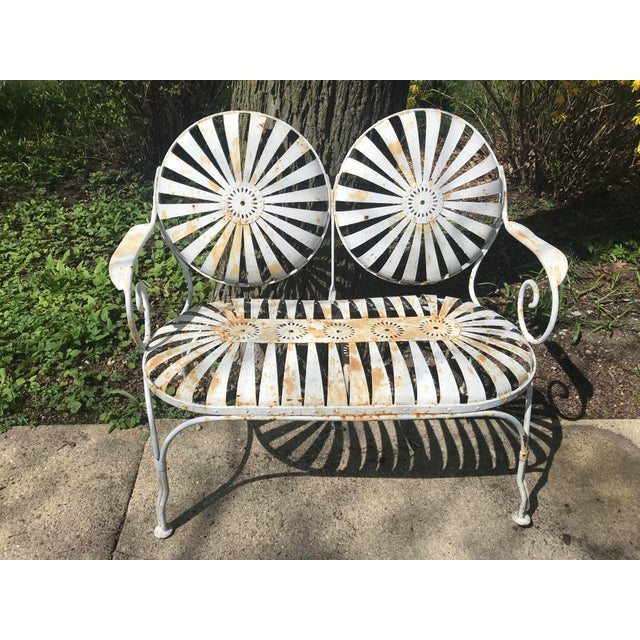 Francois Carre French Sunburst Garden Bench For Sale - Image 9 of 13