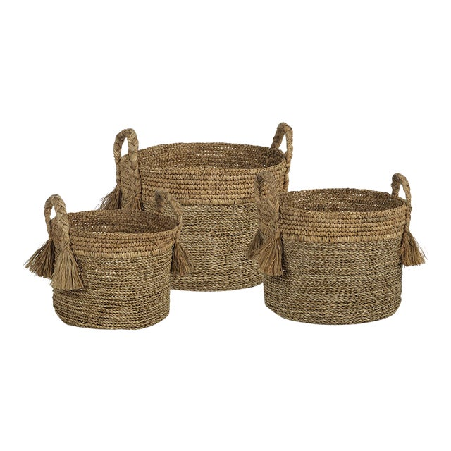 Barletta Seagrass Baskets from Kenneth Ludwig Chicago - Set of 3 For Sale
