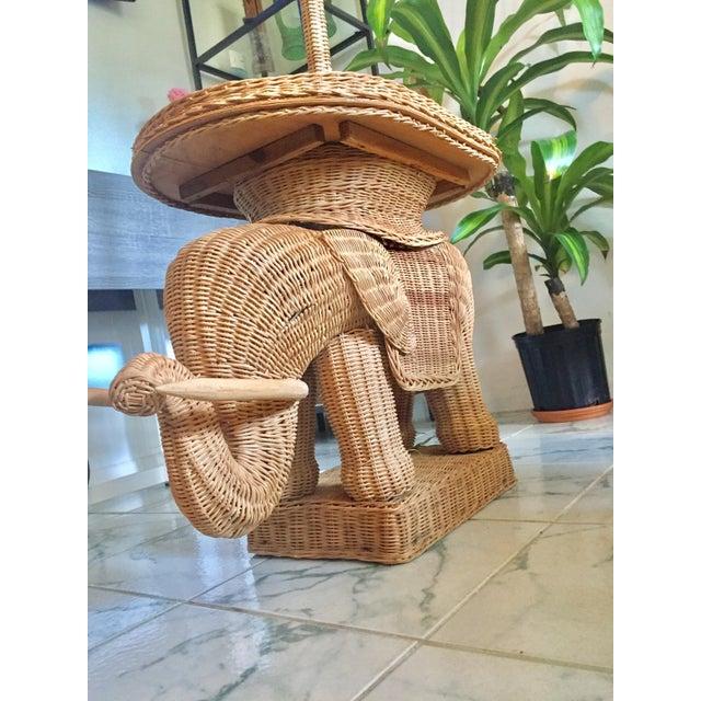 Hollywood Regency Wicker Elephant Table & Lamp - Image 9 of 11