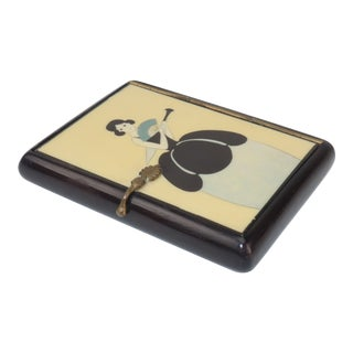 Vintage Art Deco Small Lacquered Wood Box With Stylized Lady For Sale