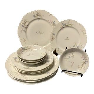 Vintage Haviland and Company Limoges Porcelain Blue Flora Dinnerware Set- 12 Pieces For Sale
