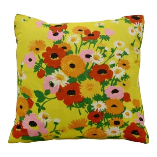English Poppies Happy Floral Pillow For Sale