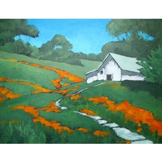Napa Valley California Poppies Foothill Barn Plein Air Landscape Lynne French For Sale